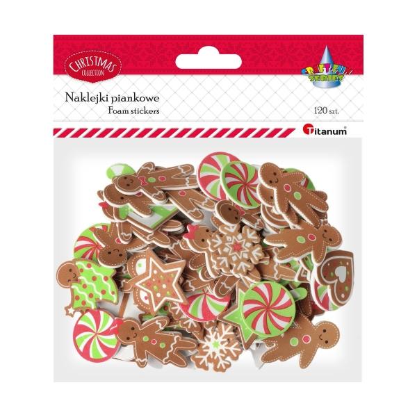 Dekoracje piankowe samoprzylepne, Boże Narodzenie - piernikowe kształty (307910)