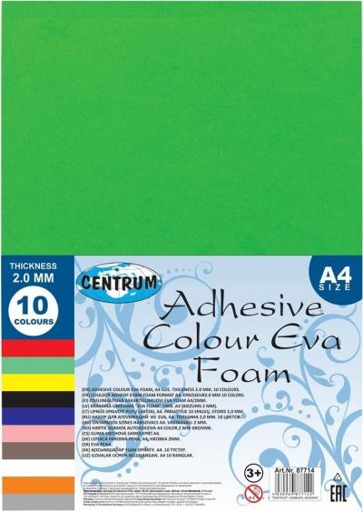 Samoprzylepna kolorowa pianka Eva A4 10 kolorów