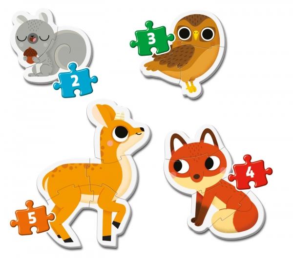 Clementoni, moje pierwsze puzzle 4w1: Leśne zwierzęta (20814)