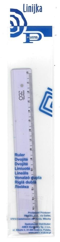 Linijka 16cm przezroczysta PRATEL