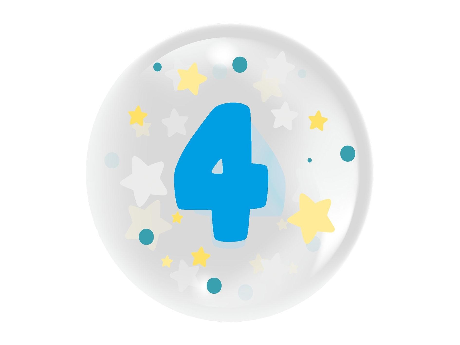 """Balon 45 cm - """"Cyfra 4"""" niebieski (TB 3604)"""