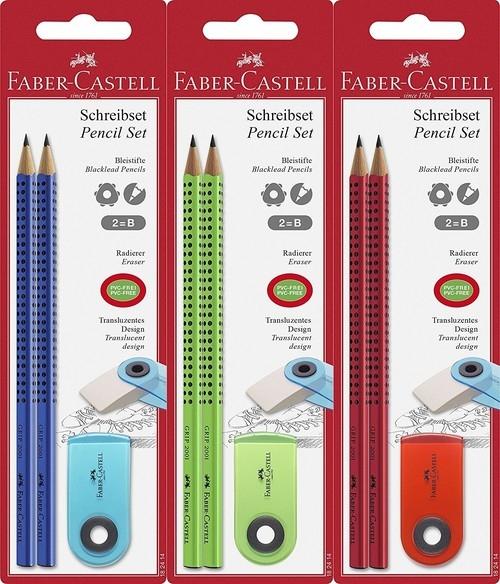 Zestaw 2 ołówków Grip 2001 z gumką Sleeve mix kolorów (182414)