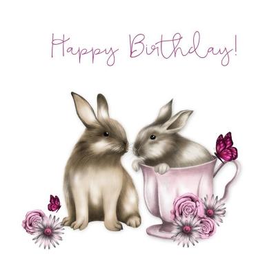 Karnet Swarovski kwadrat CL0323 Urodziny króliki