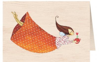 Karnet drewniany C6 + koperta Kobieta w sukience