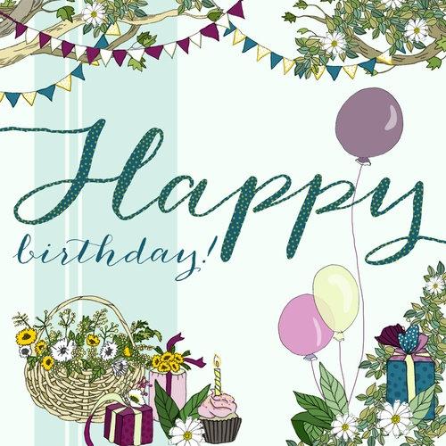 Karnet Swarovski kwadrat Urodziny Balony