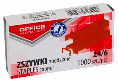 Zszywki Office Products, miedziane No.24/6, 1000szt. .