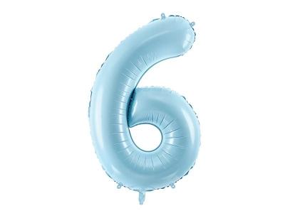 Balon foliowy Partydeco cyfra 6, jasnoniebieski 86 cm (FB1P-6-001J)
