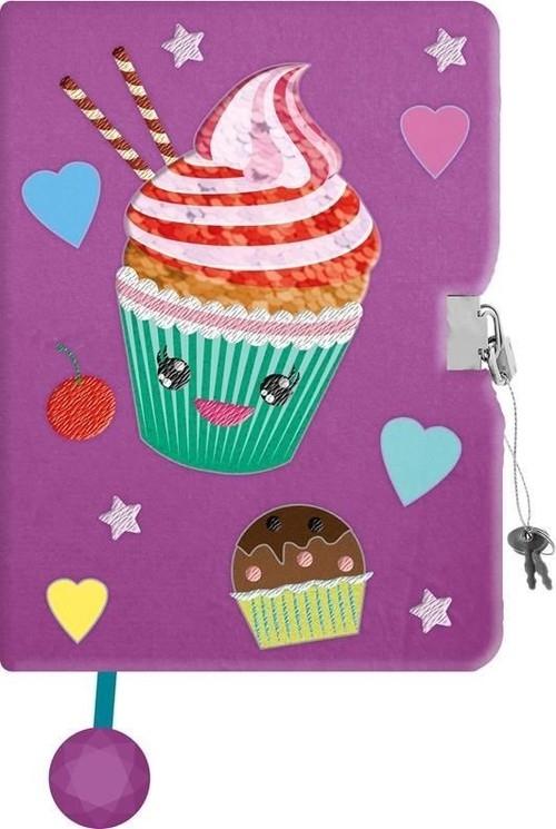 Pamiętnik z kłódką pluszak z cekinową aplikacją A5, 96 kartek Muffin