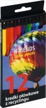 Kredki ołówkowe sześciokątne z recyklingu 12 kolorów