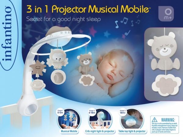 Muzyczna karuzelka 3w1 Infantino beżowa (1164915)
