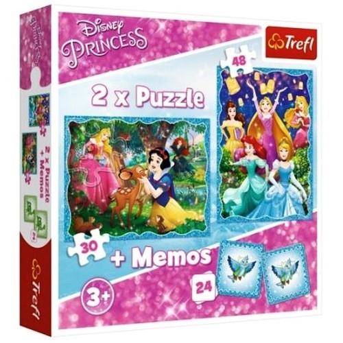 Puzzle 2w1 + Memos Disney Księżniczki Niezwykły świat Księżniczek (90815)