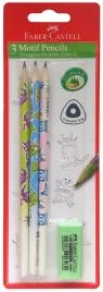 Ołówki trójkątne Potworki 3 sztuki + gumka