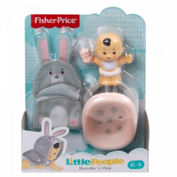 Figurka Little People Bobas + kocyk otulacz - Bujaczek królik (GNF59/GKY43)