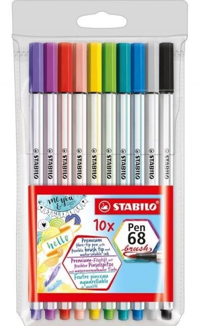 Flamastry Pen 68 brush 10 kolorów STABILO