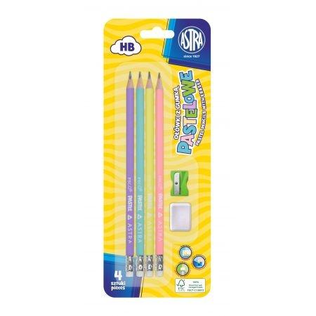 Ołówki pastelowe HB z miarką, 4 szt. + gumka i temperówka (206120007)