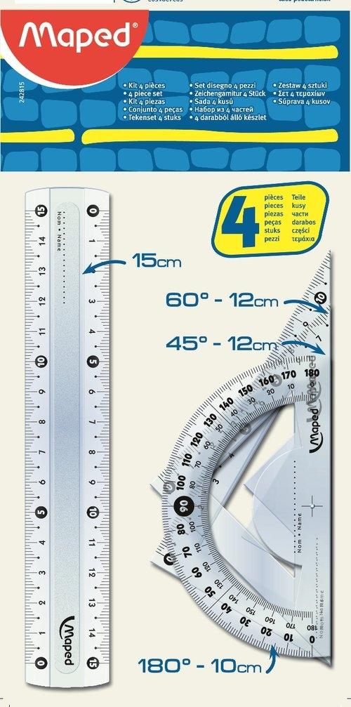 Zestaw start mini linijka 15 cm. 2 ekierki kątomierz