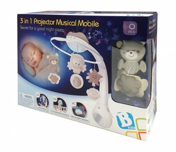 3w1 Projektor muzyczna karuzelka beżowa (1164915) (Uszkodzone opakowanie)