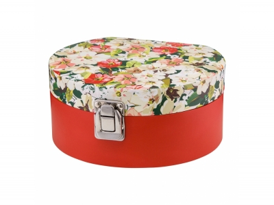Pudełko tekturowe, szkatułka na biżuterię z lusterkiem Kwiaty