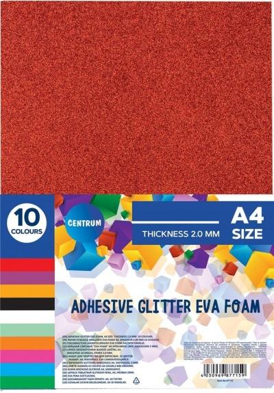 Samoprzylepna brokatowa pianka Eva A4 10 kolorów