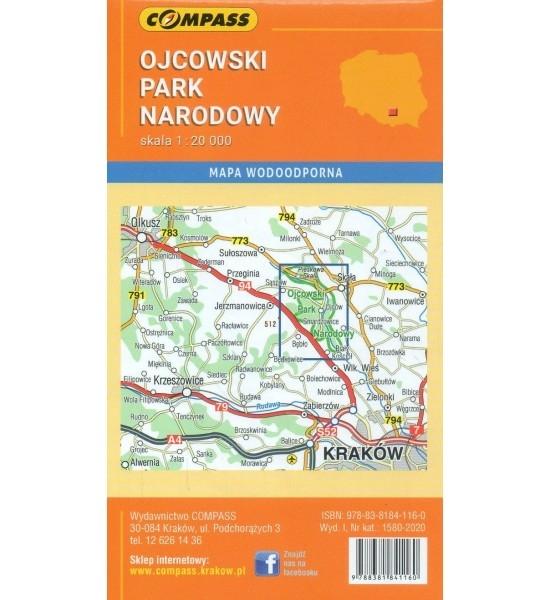 Ojcowski Park Narodowy, 1:20 000 - mapa turystyczna kieszonkowa (1580-2020) praca zbiorowa
