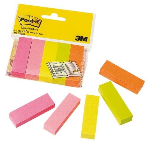 Znaczniki POST-IT 15x50mm, 5x100 kartek mix kolorów neonowy (670/5)
