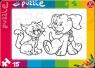 Puzzle do kolorowania 15: Kot i pies (0161)