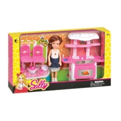 Laleczka Sally z różową kuchnią