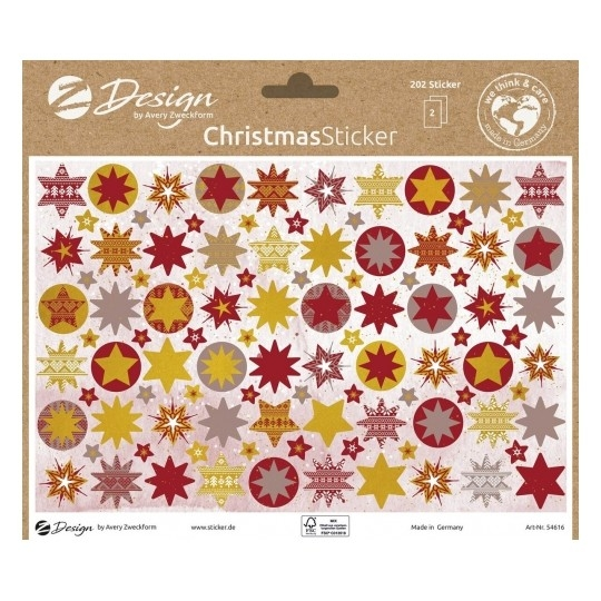 Naklejki bożonarodzeniowe - Czerwonozłote gwiazdki (54616)