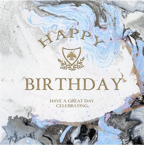 Karnet kwadrat z kopertą Urodziny Blue Marble Birthday