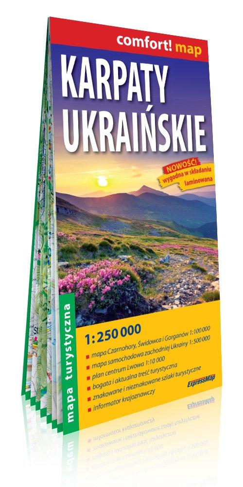 Karpaty Ukraińskie; laminowana mapa turystyczna; 1:250 000 praca zbiorowa