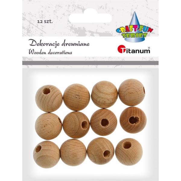 Ozdoba drewniana Titanum Craft-fun koraliki naturalny 12 szt