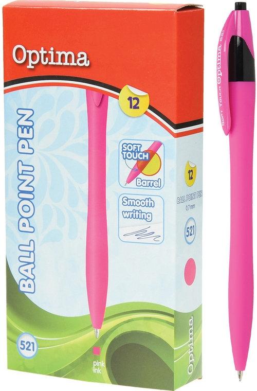 Długopis OPTIMA Soft Touch 521 różowy 12 sztuk