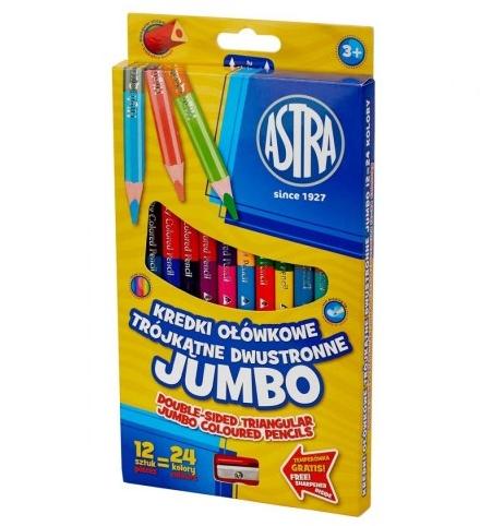 Kredki ołówkowe Jumbo Astra 12 sztuk/24 kolory (312118001)