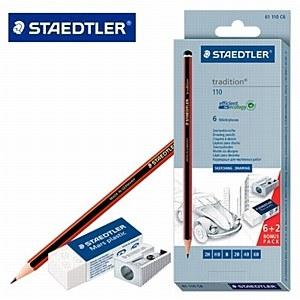 Zestaw ołówków tradition 6 sztuk + temperówka + gumka (S110)
