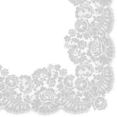 Serwetki Paw Lacy frame silver - biały 330 mm x 330 mm (TL702608)