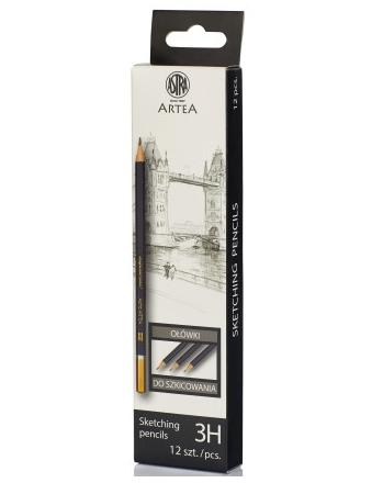 Ołówek do szkicowania 3H Astra Artea - box 12 sztuk (206118010)