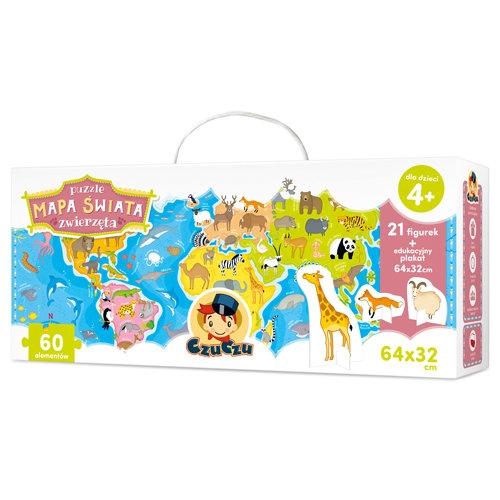 Puzzle 60: CzuCzu: Puzzle Mapa świata. Zwierzęta (336399)