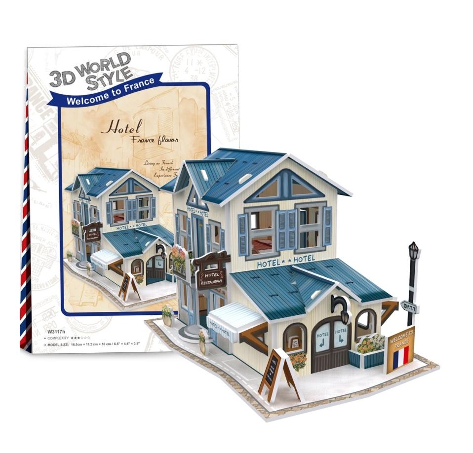 Puzzle 3D: Domki świata - Francja, Hotel (306-23117)