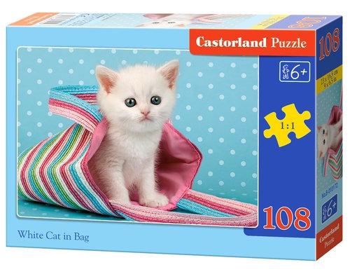 Puzzle White Cat in Bag 108 elementów (010172)