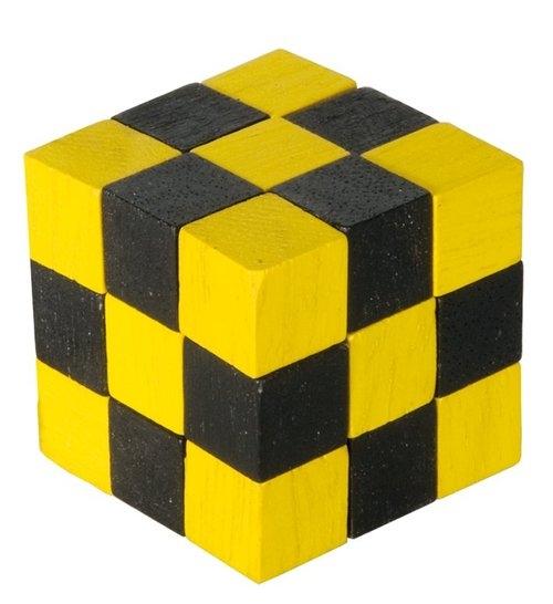 IQ-Test Kostka Magiczny Wąż, drewno, żółty/czarny