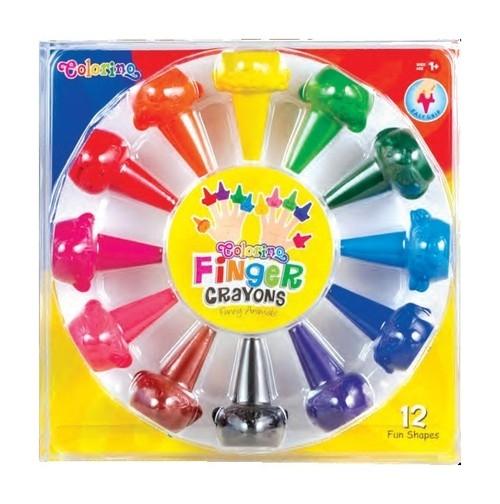 Kredki świecowe Colorino Zwierzątka na palec, 12 kolorów (66174PTR)