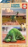 Drewniane puzzle Dobry dinozaur 2 x 50 elementów