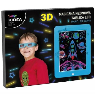 Magiczna neonowa tablica 3D LED niebieska KIDEA