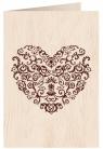 Karnet drewniany C6 + koperta Serce wzory Ślub