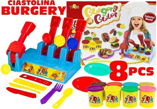 Ciastolina hamburgery Fast food  8 kolorów+maszyna