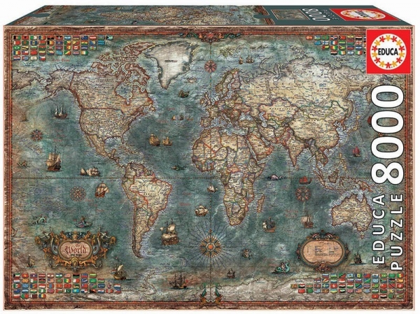 Puzzle 6000 elementów Historyczna mapa świata (18017)