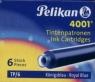 Naboje krótkie Pelikan 4001 TP/6 niebieskie 6 sztuk