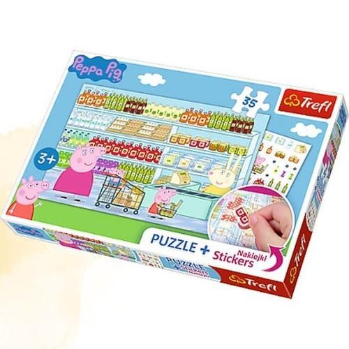 Puzzle Plus 35 elementów + Naklejki Świnka Peppa na zakupach (Uszkodzone opakowanie)