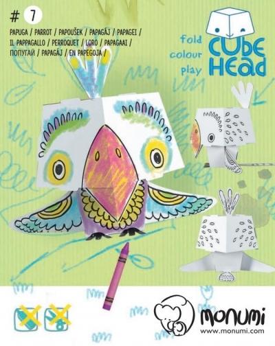 Papuga. Cube head. Złóż i pokoloruj praca zbiorowa