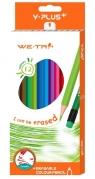 Kredki bezdrzewne ścieralne z gumką 12 kolorów